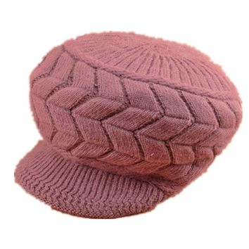 Tuscom New Women Warm Winter Braided Knit Brim Visor Ski Hat Beret Beanie Cap