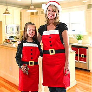 2016 new year Christmas Santa Claus Apron Christmas Decorations for Home Red Cloth Adult Pinafore Noel Decoration