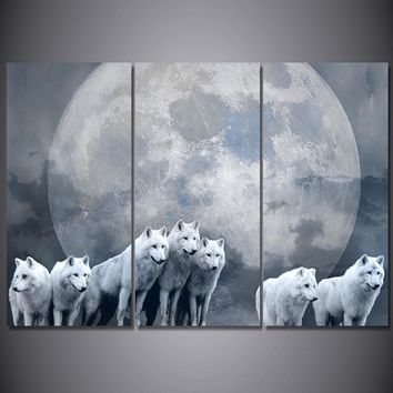 3 Piece Canvas Art Print Pack of Wolves Wolf Moon Wall Decor