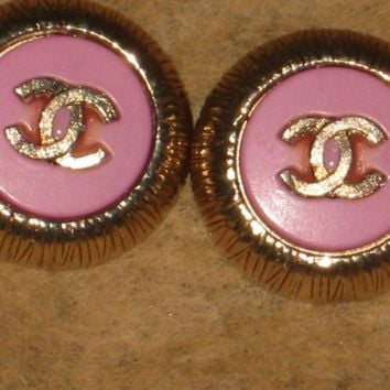 Authentic Chanel buttons upcycled into earrings