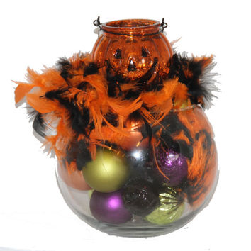 Halloween Centerpiece - Jack o Lantern Pumpkin Centerpiece - Candle Holder - Autumn Home Decor - Feather Halloween Purple Orange Green Black