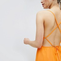 ASOS DESIGN cami pleated maxi dress with strappy back at asos.com