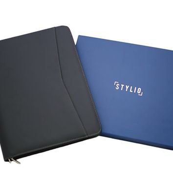 """STYLIO Zippered Padfolio Portfolio Binder, Interview & Resume Document Organizer, Ipad/ 10.1"""" Tablet Holder, Business Card Holder & Phone Slot, Matte Faux Leather Case, Letter-Sized Notepad Included"""