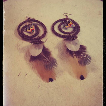 Aztec Wool Wrapped Feather Earrings Gypsy Costume OOAK Unique Spinning Tribal Bohemian Jewelry Handmade Upcycled