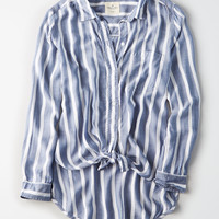 AE Long Sleeve Tie Front Shirt, Blue