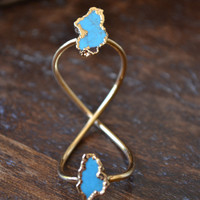 INFINITY /// Double Turquoise Ring /// Full Finger Ring