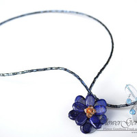 Lapis Lazuli and BlueTopaz Necklace Gemstone Butterfly and Flower Set Natural Design by Flower GemStone