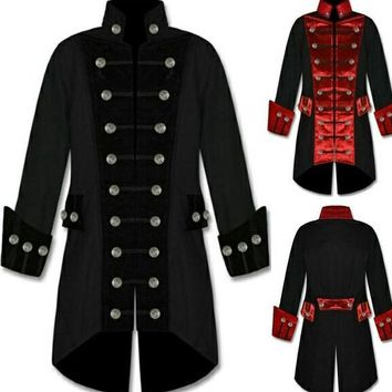 Men's Victorian Vintage Gothic Steampunk Trench Coat