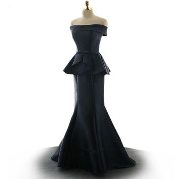 Black Mermaid Dress Court Train Satin Boat Neckline Dress Evening Dresses Bow Ruffles