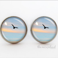 Flying bird stud earrings, fall jewelry, woman gift, glass cabochon jewellery by The Neverland