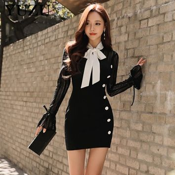 Sexy Bodycon Bandage Dresses New Korean Style White Black Lace Ladies Office Dresses Bow Tie Hollow Out Cute Lolita Retro Dress