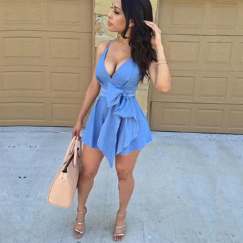 Deep V-neck Straps Short Slim Dress