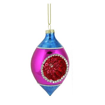 """4.5"""" Blue  Pink and Red Retro Reflector Glass Teardrop Christmas Ornament"""
