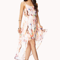 Abstract Print High-Low Dress