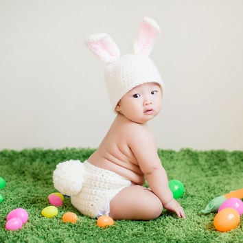 BOY or GIRL Spring Easter Bunny hat and diaper cover with large fluffy tail, Newborn, baby, toddler child photo prop