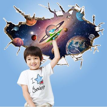 Astronauts nursery living room Bedroom backdrop Solar System wall stickers for kids rooms outer space 3d effect wall decals