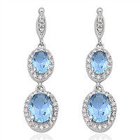 AQUAMARINE & CZ .925 STERLING SILVER DANGLE EARRINGS