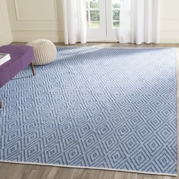 Safavieh Hand-Woven Montauk Blue/ Ivory Cotton Rug (8' x 10') | Overstock.com Shopping - The Best Deals on 7x9 - 10x14 Rugs