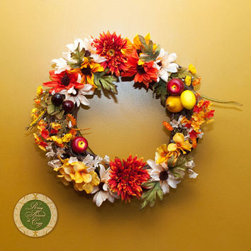 Small Thanksgiving Wreath Thanksgiving Decor Small Fall Wreath Fall Deco Flowers Fruit  Leaves wreaths under 100 wreaths under 50