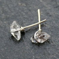 Teeny Herkimer Stud Earrings in Silver Number 2
