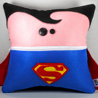 Plush Superman Pillow with a zipper Pocket Mouth and Button Eyes