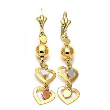 Gold Layered 078.016 Chandelier Earring, Heart Design, Polished Finish, Tri Tone
