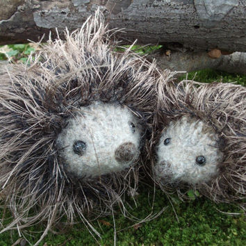 Hedgehog mama and baby plush, hand knit felted stuffed animal family, ready to ship!