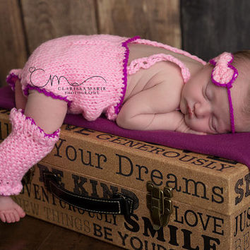 Baby girl photo set, newborn girl outfit, matching photo props, pink bow headband, knit infant jumper baby leg warmers, coming home crochet