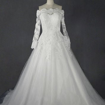 Custom Made Vintage A Line Off the Shoulder Long Sleeve Lace Wedding Dresses with veil made to order --- WD031