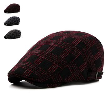 Brand Fashion Vintage Plaid Autumn Winter Sun Hats for Men Women High Quality Casual Cotton Women Beret Caps Newsboy Flat Hat