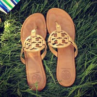 Tory Burch Sandals Tide Fashion Women Brown Shining Slippers