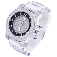 Jewelry Kay style Men's Fashion Iced Out White Silicone Band Techno Pave Heavy Watches WR 7758