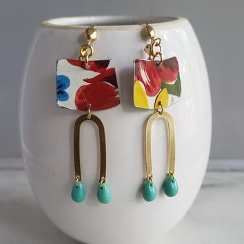 Geometric Vintage Tea Tin Earrings with Brushed Brass and Czech Glass Droplets