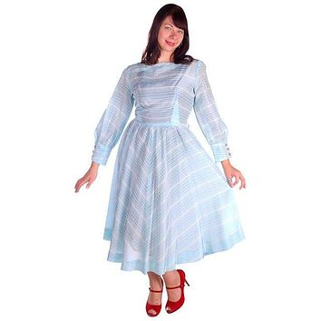 Vintage Light Blue Taffeta Dress 1950s 39-30-Free
