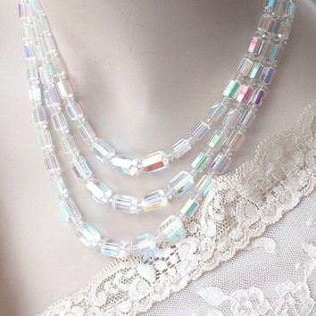 Wedding Bridal Jewelry Vintage  Aurora Borealis Crystal Necklace and Earrings Set