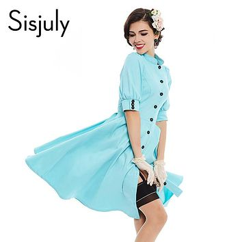 Sisjuly vintage dress 1950s style solid color sexy 2017 spring summer women party Single button dress elegant vintage dresses