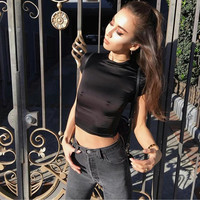 Crop Top Summer Ladies High Neck Slim Tops [10203229383]