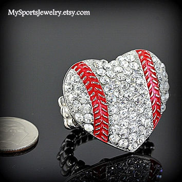 Baseball Heart Rhinestone Ring Stretch Fit