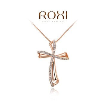 ROXI Brand Luxury Gold Color Cross Women Necklaces Pendant Fashion Women Czech Stone Necklace Jewlery Design