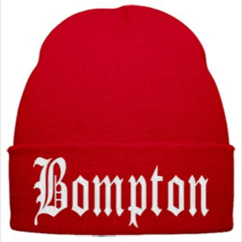bompton EMBROIDERY HAT - Beanie Cuffed Knit Cap