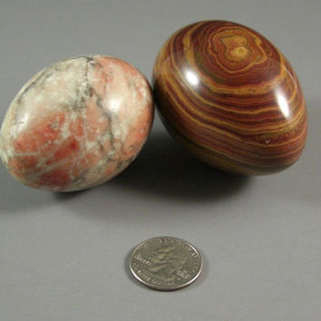 Polished Stone Eggs // Pair // Banded and Speckled