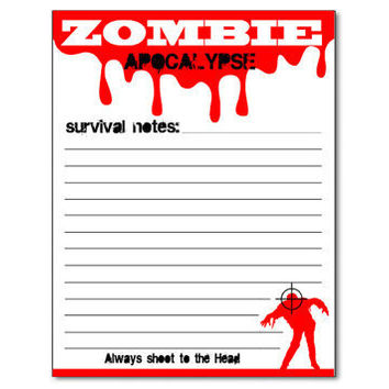 Magnetic Zombie Apocalypse Survival Notepad To Do List Groceries Fridge Magnet Pad