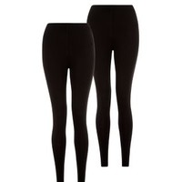 2 Pack Black Ankle Length Leggings