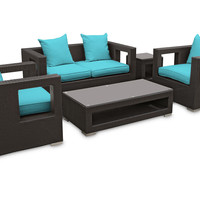 Sofa Carmel 5-Pc  Set, Espresso/Turquoise, Outdoor Lounge Sets
