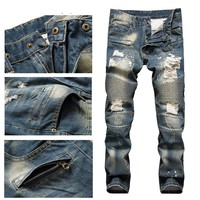 Men's Destroyed Frayed Biker Jeans Ripped Distressed Straight Skinny Jeans Bleached Denim Blue Pants Scratch Long Trousers