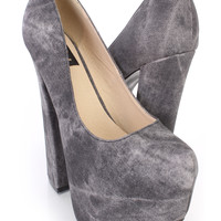 Black Stone Wash Chunky Platform Pump Heels Faux Leather