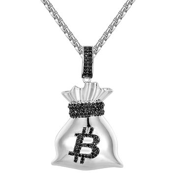 Black &White Bitcoin Dollar Money Bag Pendant