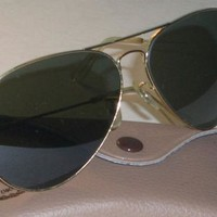Cheap 1970s CIRCA VINTAGE B&L RAY BAN L2846 GOLD LARGE LENS UV G15 AVIATOR SUNGLASSES outlet