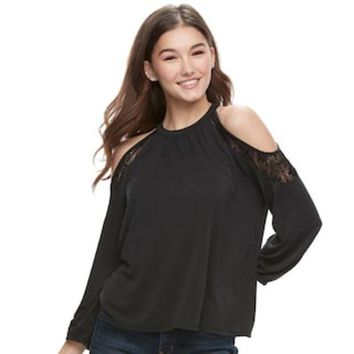 ONETOW Juniors' Mudd® Cold-Shoulder Lace Inset Top | null