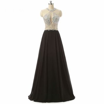 Beaded Chiffon Evening Dresses See Through Long Evening Gowns Halter